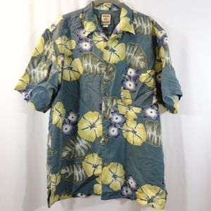 TOMMY BAHAMA Silk Button Front Shirt Size S Green